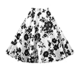 Apparel : Killreal Women's Knee Length Pleated Flare Floral A Line Full Circle Vintage Skirts