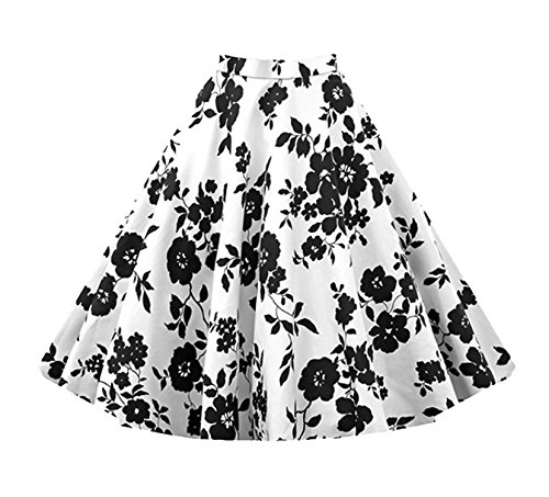 Pattern Circle Full (Killreal Women's Retro Fashion Floral Print A Line Full Circle Flare Skirt with Patterns Plus Size Black/White XX-Large)