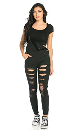 05fcec1749ae Ripped Skinny Leg Overalls in Black at Amazon Women s Clothing store
