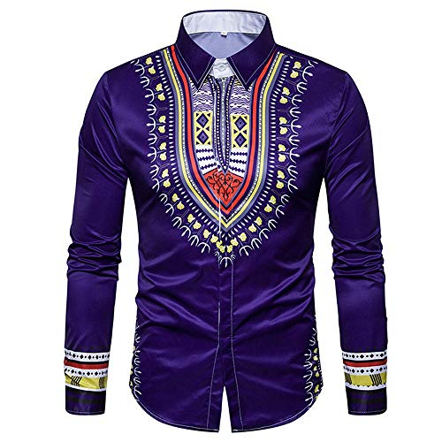 ZYEE Clearance Sale! Men's Autumn Casual African Print Pullover Long Sleeved T-Shirt Top Blouse