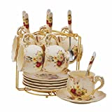 Flowering Shrubs Image Ivory Ceramic Tea Cups and Saucers Sets with Spoons,Vintage Tea cups Set of 6 with Golden Metal Rack