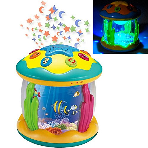 (Haktoys 2-in-1 Activity Toy & Night Lamp Sky Constellation Rotating Projector Fun Learning Entertaining Educational Play | Music (On/Off) and Flashing Lights, Safe and Durable,Gift for Toddlers & Kids)