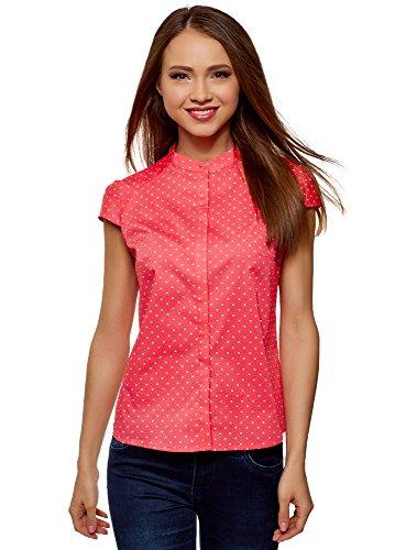 High Neck Collar - oodji Ultra Women's Stand Collar Shirt with Short Raglan Sleeve, Pink, 10