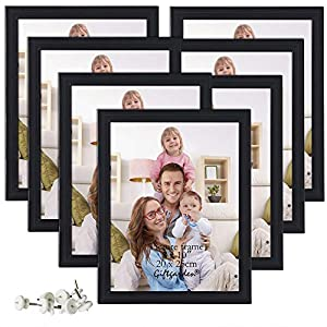 Giftgarden 8×10 Picture Frame Multi Photo Frames Set Wall or Tabletop Display, 7 PCS, Black