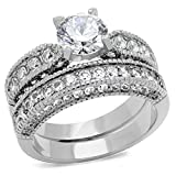 Vintage Style Stainless Steel CZ Bridal Wedding Ring Set