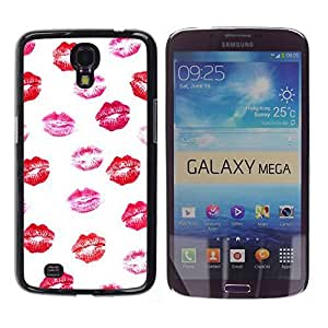 TaiTech / Hard Protective Case Cover - White Pattern Pink Red - Samsung Galaxy Mega 6.3 I9200 SGH-i527 by ruishername