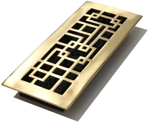 - Decor Grates AB412-SB 4-Inch by 12-Inch Abstract Floor Register, Solid Brass with Satin Brass Finish