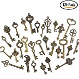 Swity Home 120 Pack Skeleton Keys, 30 Different Styles Keys in Antique Bronze, Charm Set DIY Handmade Accessories Necklace Pendants, Set of 120 Keys