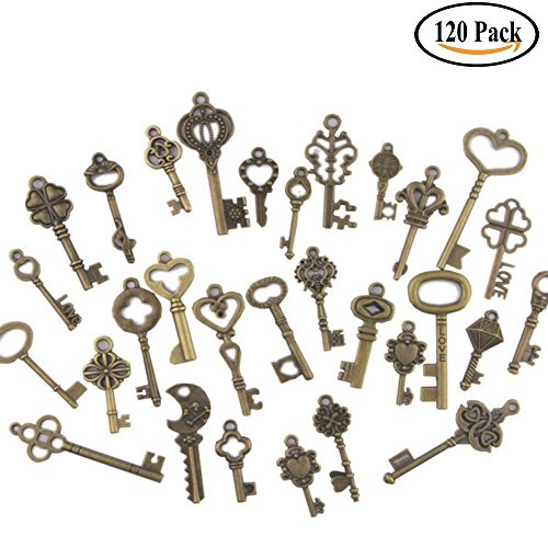 Swity Home 120 Pack Skeleton Keys, 30 Different Styles Keys in Antique Bronze, Charm Set DIY Handmade Accessories Necklace Pendants, Set of 120 Keys