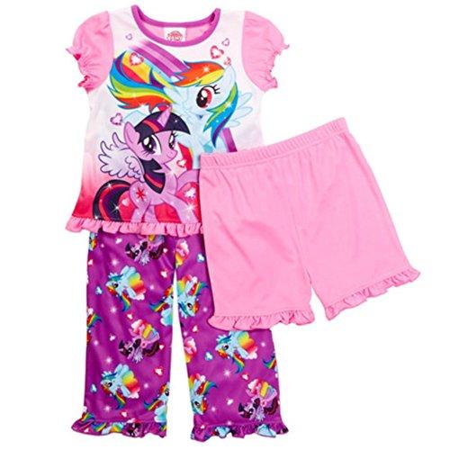 My Little Pony Toddler Girls' 3 Piece Short Sleeve Pajama Set, Size 2t-4t (2t)