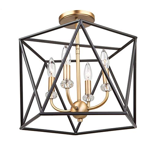(ArtCraft AC11034 Harmony - Four Light Semi-Flush Mount, Black/Satin Brass Finish with Clear Crystal)