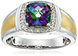 Men's Sterling Silver with Yellow Gold Plating Mystic Fire Topaz and Diamond (0.1cttw, I-J Color, I2-I3 Clarity) Cushion Ring, Size 10.5