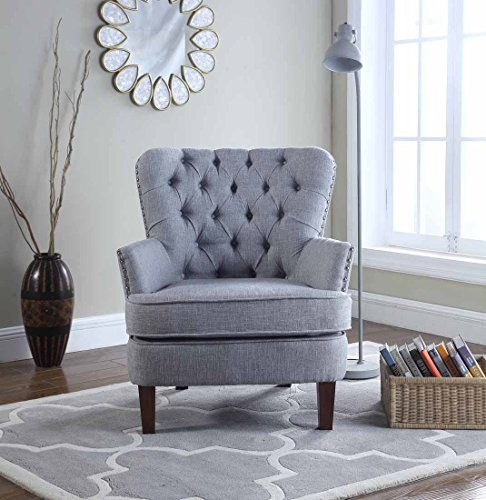 NHI Express 92005-16GY Button Tufted Chair, 31 W x 35 D x 37.5 H, Gray
