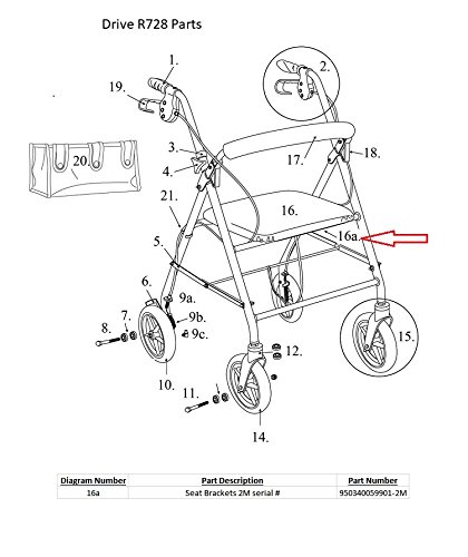 Padded Seat Brackets, Drive Models R726, R728; (2M Serial #); 1/pr -  950340059901-2M