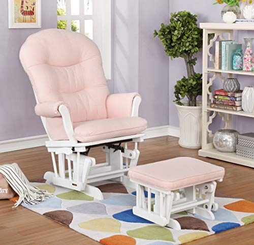 Lennox Furniture Glider Chair and Ottoman Set - White/Pickwick Pink (Shermag Locking Glider Ottoman)