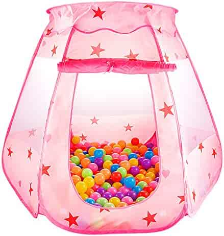 CASA MALL Kids Princess Play Tent Foldable Popup Balls House for Children Indoor and Outdoor, 47