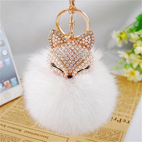 [해외]여성 폭스 바겐 핸드백 또는 핸드폰 또는 자동차 펜던트 용 인공 폭스 헤드 속지 진주 모조 다이아몬드 키 체인과 함께 일반 리얼 폭스 모피 공 (한 사이즈, 화이트 #)/Generic Real Fox Fur Ball