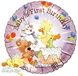 Little Suzy's Zoo 'Baby's First Birthday' Foil Mylar Balloon (1ct)