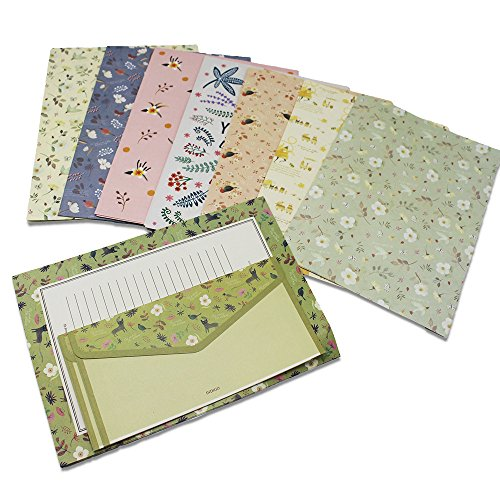Hewnda 32 sweet floral writing paper letterhead with 16 envelopes writing stationery paper