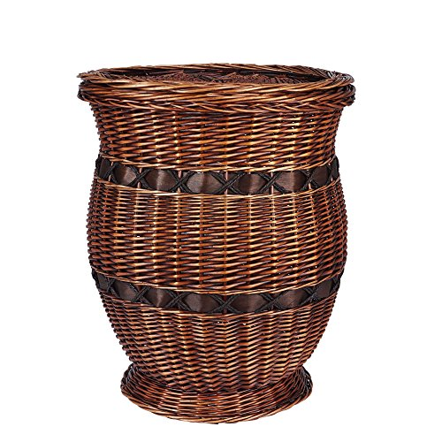 Household Essentials Decorative Wicker Storage Basket Accent Table, Large, Dark Brown