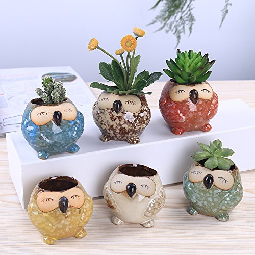 Handmade Flower Pot Succulent Plants 6-pcs Cute Owl Small Ceramics Owl Flower Planter Herb Pot Decorative Vase Garden Vase (pattern two-6 pcs)
