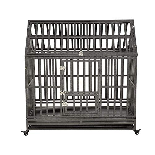 LUCKUP Heavy Duty Dog Cage Strong Metal Kennel and Crate for Medium and Large Dogs, Pet Playpen with Four Wheels,Easy to Install,48 inch,Black ... ()