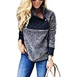 SHIBEVER Womens Plus Fleece Sweatshirt Long Sleeve Oblique Button Geometric Pattern Pullover Coats Jackets Outwear Blue M