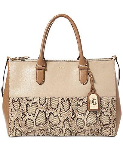 LAUREN Ralph Lauren Women's Newbury Double Zip Satchel Top Handle Handbag (Natural/Birchwood/Limestone)