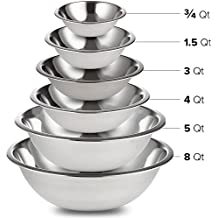 Professional Stainless Steel Mixing Bowls SET of 6 for Cooking, Baking, Food Preparation. Polished Mirror Finish in Most Popular Sizes for Use & Stacking Nested 3/4 - 1.5 - 3 - 4 - 5 - 8 Quart
