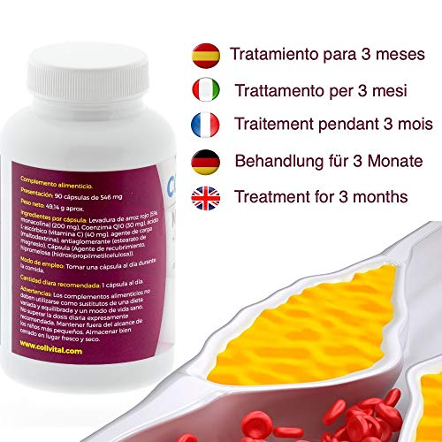 Levadura de Arroz Rojo con Coenzima Q10 pon fin al Colesterol Monacolina Q10 Dosis en Capsulas Concentrada Tratamiento 3 Meses