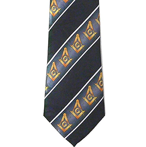Background Black Necktie (Masonic Neck Tie - Black background Gold Compass and Square symbols. White lines on Polyester long tie diagonal Masonic pattern design for Freemasons (Tie Masonic))