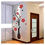 Mapletop 3D Wall Stickers Home Bedroom Decor DIY Vase Flower Tree Crystal Arcylic Decal