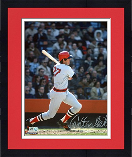 "Framed Carlton Fisk Boston Red Sox Autographed 8"" x 10"" Gray Swinging Photograph - Fanatics Authentic Certified by..."