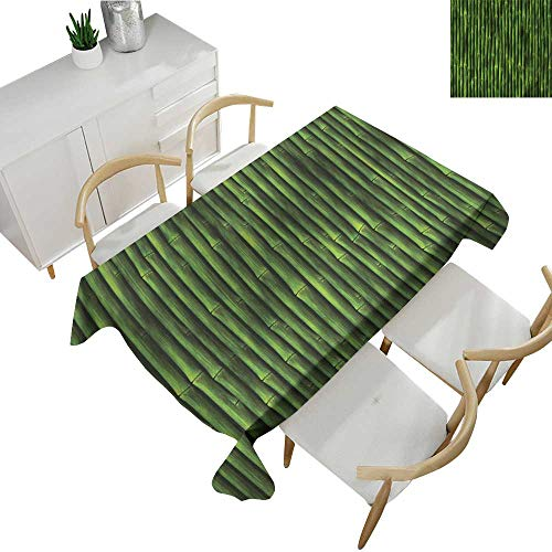 """Bamboo,Tablecloths Bamboo Stems Pattern Tropical Nature Inspired Background Print Asian Wildlife Zen Theme Table Cloth Home Decoration Green 52""""x 70"""""""