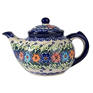 Traditional Polish Pottery, Handcrafted Ceramic 7-Cup Teapot with Lid (1350ml), Boleslawiec Style Pattern, H.101.Garland