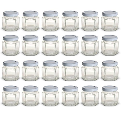 (1.5 oz Hexagon Mini Glass Jars with White Lids and Labels (Pack of 24))