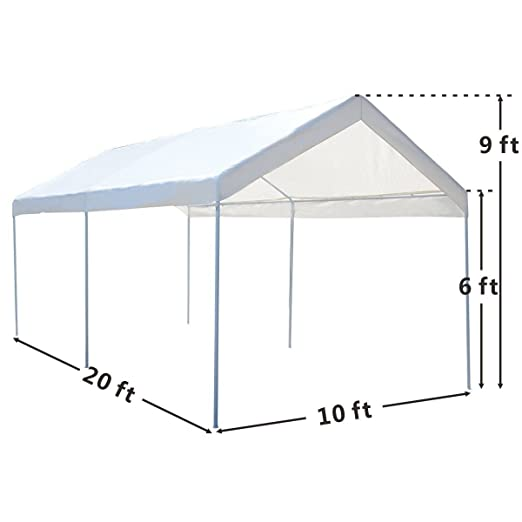 Amazon.com  10 x 20 Steel Frame Canopy Shelter Portable Car Carport Garage Cover Party Tent - 6-Leg Construction With 1-1/4  Diameter Tubing ...  sc 1 st  Amazon.com & Amazon.com : 10 x 20 Steel Frame Canopy Shelter Portable Car ...