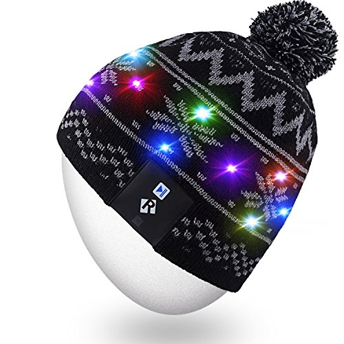 Price comparison product image Rotibox Children Boys Girls Stylish LED String Light Up Beanie Hat Knit Cap with Copper Wire Colorful Lights 15 LEDs for Indoor and Outdoor Festival Holiday Celebration Parties Black