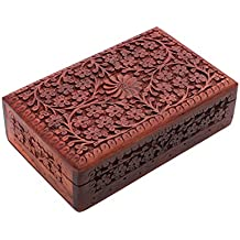 Exotic Hand Carved Wooden Jewelry Trinket Box Keepsake Storage Organizer with Floral Patterns