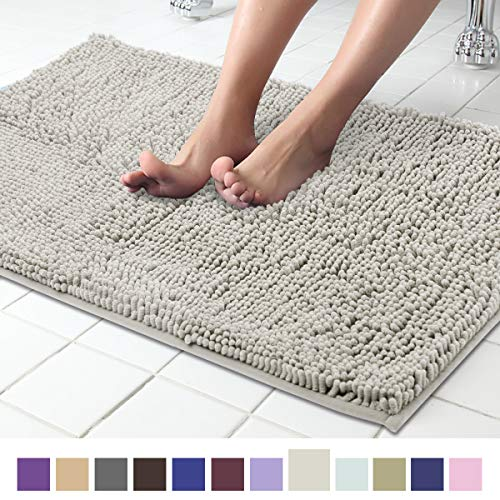 ITSOFT Non-Slip Shaggy Chenille Soft Microfibers Bathroom Rug with Water Absorbent, Machine Washable, 21 x 34 Inch Light Gray