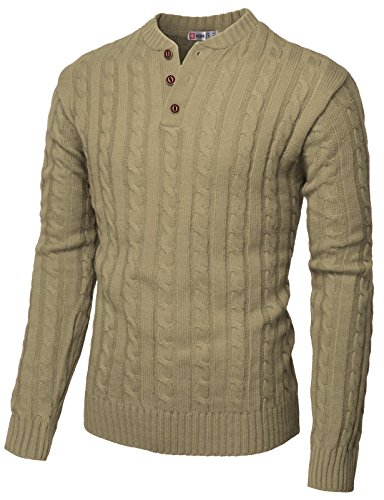 H2H Mens Slim Fit Henley Neck Knitted Pullover Sweater Beige US XL/Asia 2XL (CMOSWL029) -