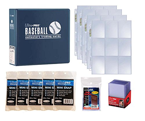 Ultra Pro Baseball Card Collector Starter Kit - Blue Album, 9 Pocket Pages, Sleeves, Top Loaders & Mini Snap Holders
