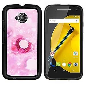 Caucho caso de Shell duro de la cubierta de accesorios de protección BY RAYDREAMMM - Motorola Moto E2 E2nd Gen - Amor rosado del diamante del corazón