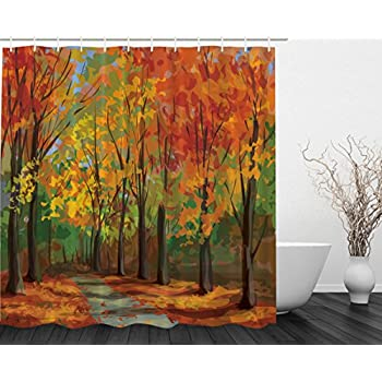 orange and brown shower curtain. Woodsy Shower Curtain Forest North Woods Falling Leaves Fall Park Road  Autumn Country Home Decor Amazon com Trees Print Mom Gift Ideas