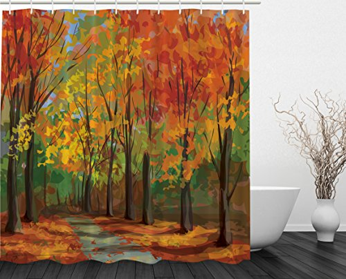 Woodsy Shower Curtain Forest North Woods Falling Leaves Fall Park Road Autumn Leaves Country Home Decor Seasonal Colors Romantic Path Walk Trail Way Clawfoot Tub Yellow Orange Mustard Green Brown Fall Colors Leaves