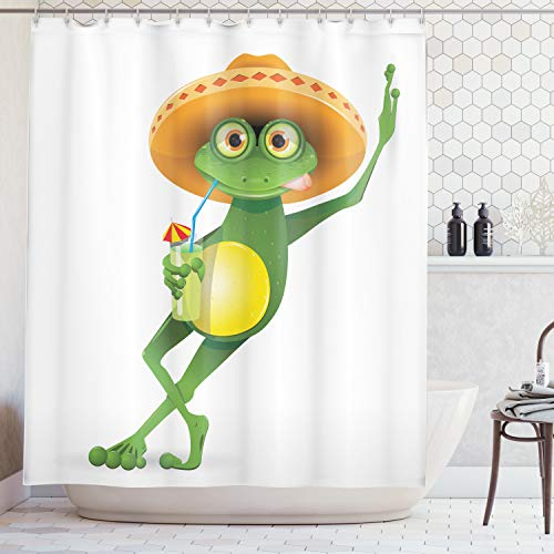 Ambesonne Cartoon Decor Collection, Frog in a Sombrero and a Cocktail Drink Glass Fauna Hot Weather Holiday Enjoying Image, Polyester Fabric Bathroom Shower Curtain Set with Hooks, Orange Green