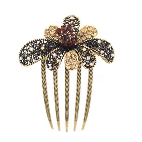 Antique Brass Rhinestone Blooming Flower French Twist Comb Topaz