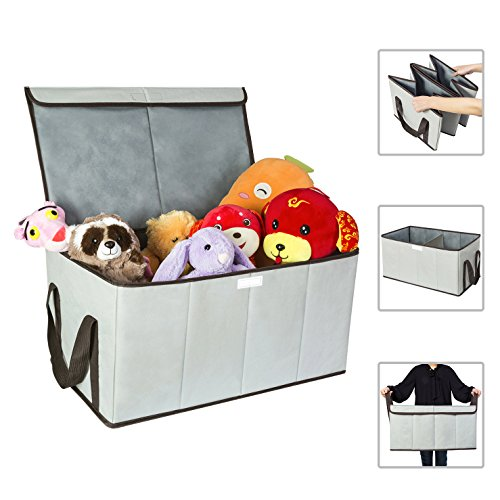 ible Toy Chest Box Large Storage Basket with Flip-Top Lid Double Sorter bin for Kids Huge Storage Boxes with Handles for Dog 600D Oxford for Bedrooms, Closets, Playroom (Grey) (Large Chest Box)