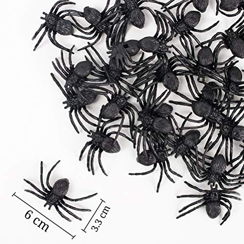 Koogel 50 Pcs Black Plastic Spiders Toy, Halloween Prank Realistic Scary Spiders Toy for Halloween Decorations Great Party Favors