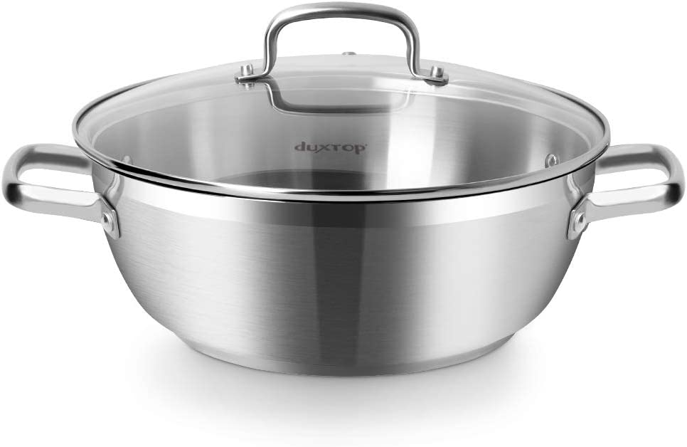 Duxtop Professional Stainless Steel Cooking Pot, 5.7-Quart Stock Pot with Glass Lid, Impact-bonded Technology